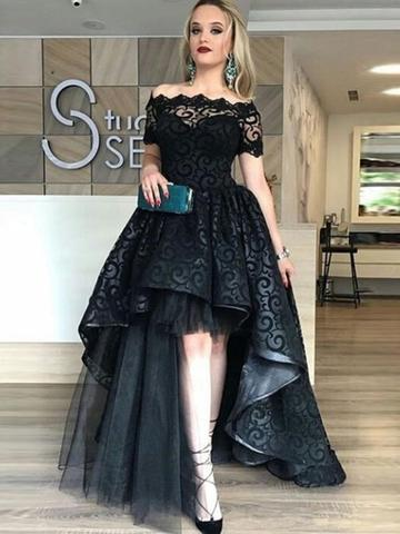 d33f8f2f5184a9 Off The Shoulder Black Lace High Low Prom Dress on Luulla