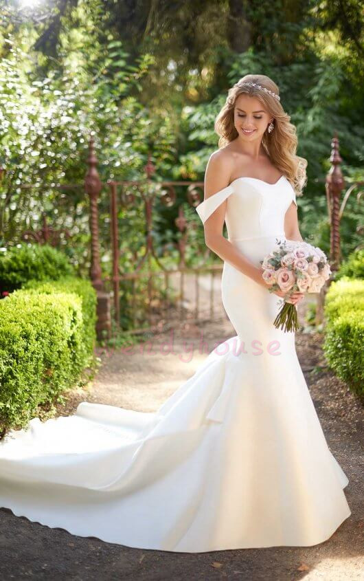 d803d87094587 Off-shoulder Ivory Satin Mermaid Long Wedding Dress With Train on Luulla