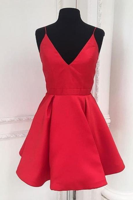 Red Spaghetti Strap V-Neck Short Homecoming Dress, Party Dress