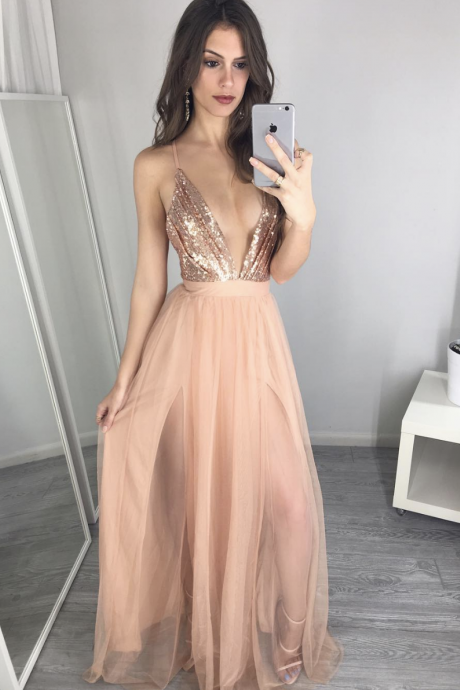 Spaghetti strap Champagne Tulle Long Prom Dress with Sqquins