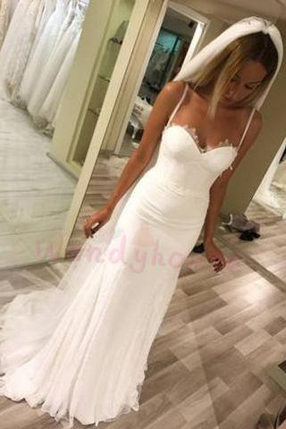 Sheath Spaghetti Straps Ivory Long Wedding Dress